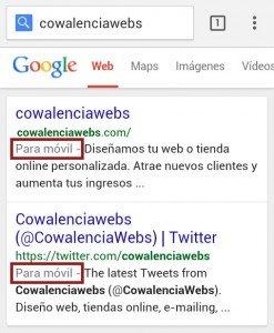 google movil responsive