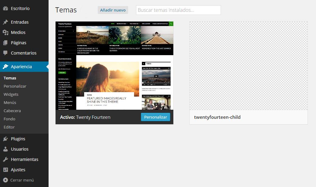 Creación de tema hijo en WordPress - Diseño web Valencia