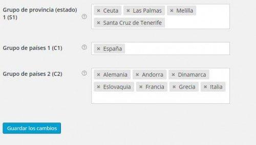 Configuración de los países y provincias para el gasto de envío por peso y país