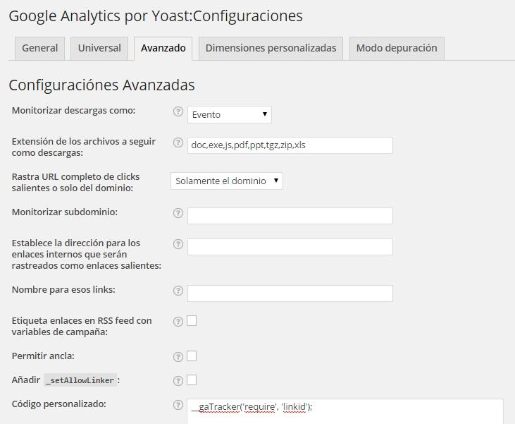 Introducción código extra de Anlytics en Yoas