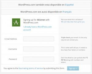 plugin akismet wordpress registro
