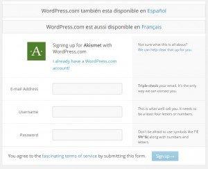 plugin akismet wordpress registro