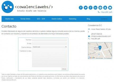 Medir Formularios con Analytics, Pagina de contacto de Cowalenciawebs