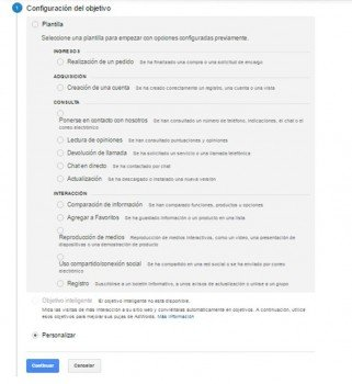 Medir formulario de contacto con Analyics, paso 1 configurar objetivos