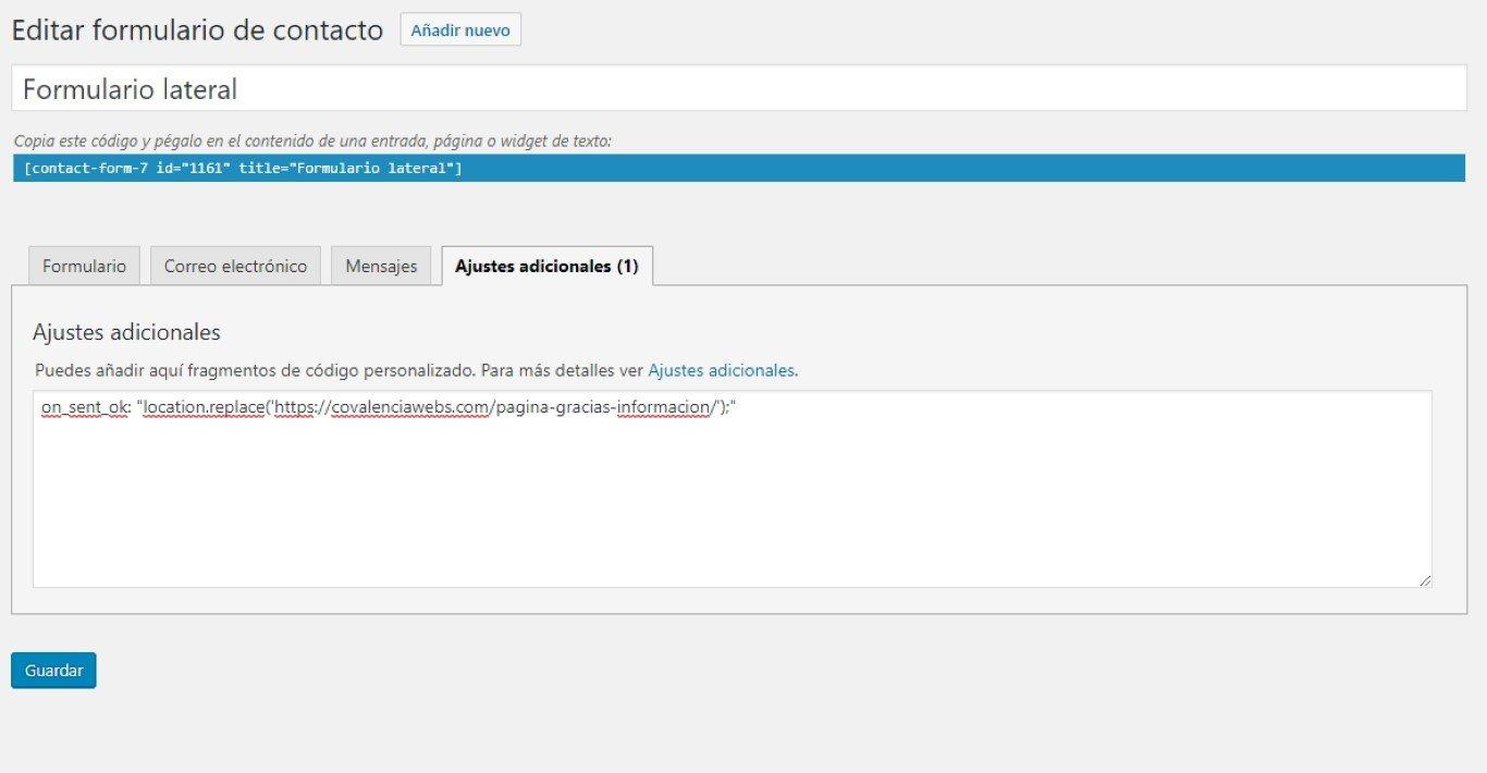 5756ab833d Redirigir desde Contact Form 7 a nuestra página de gracias por solicitar  información en Covalenciawebs