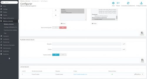 configurar menu prestashop enlaces externos