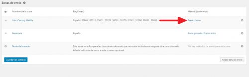 Añadir métodos de envío en la configuración de los gastos de envío en Woocommerce 4.6