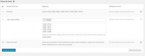 Crear zonas de envío en la configuración de los gastos de envío en Woocommerce 3.0