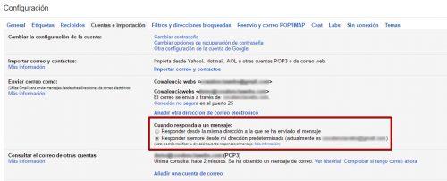 liberar espacio hosting configurar cuentas correo gmail 10